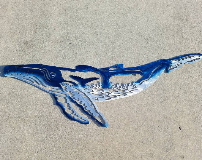 Aluminum humpback whale Wall Art, Metal Fish Art, Metal Ocean Art, Fishing Gift, Tropical Decor, Tropical Fish Art, Handmade Fish Art