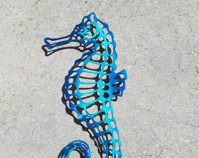 Seahorse Wall Art, Sea Horse Metal Art, Won't Rust, Blue Seahorse
