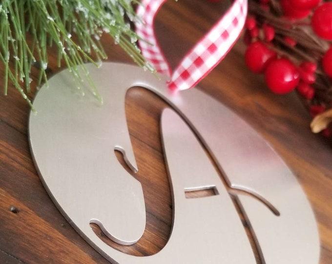 Rustic Aluminum Monogram Christmas Ornament, Metal Initial Ornament, Rustic Christmas Decor, Personalized Letter Ornament, Stocking Ornament