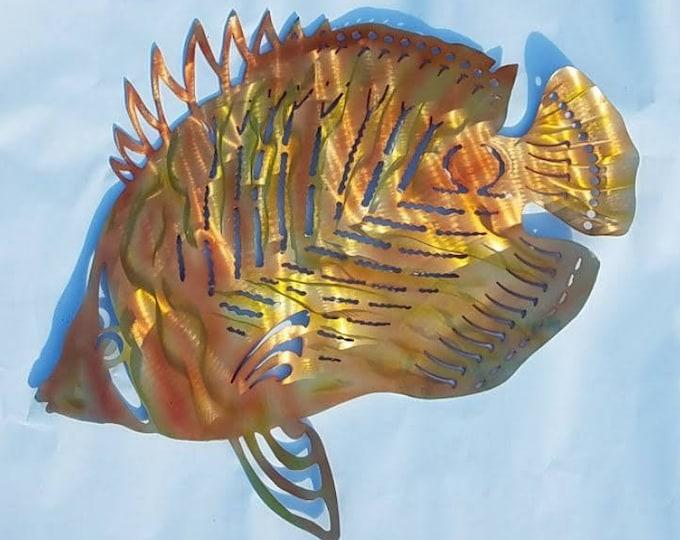 Metal Fish Wall Art, Butterfly Fish, Outdoor Wall Art, Angelfish Decor, Aluminum Art, Ocean Decor, Beach House Decor, Pool Deck Art