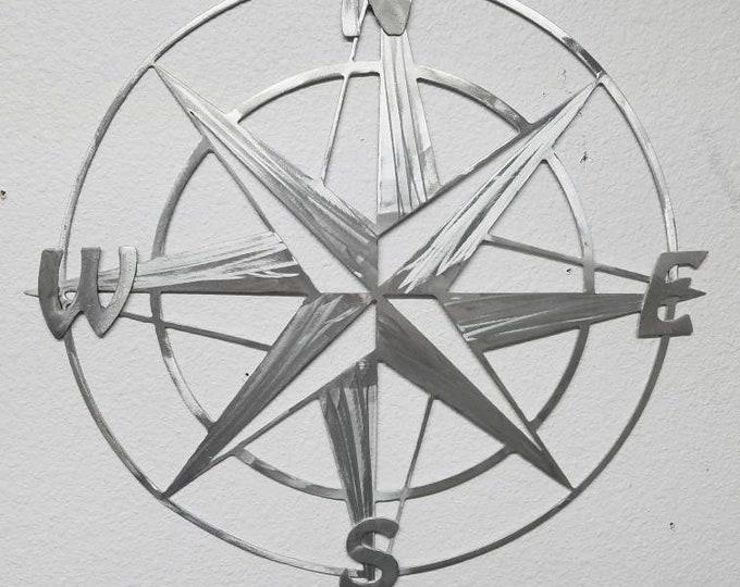 "26"" x 26""  Inch Metal Compass Rose Nautical Metal Wall Art - Aluminum Compass Rose - Will Not Rust - Metal Nautical Decor - Map Compass"