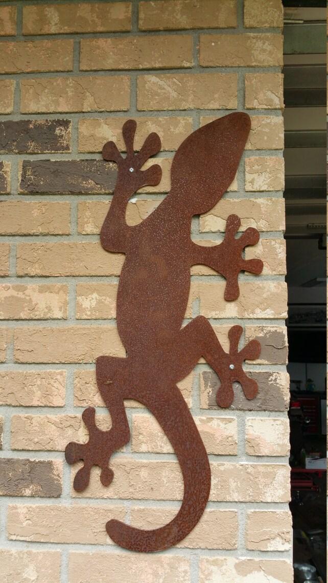 Giant Day Gecko Metal Wall Art Outdoor Lizard Sculpture | Etsy