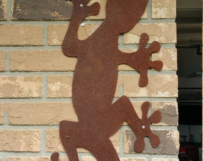 Giant Day Gecko Metal Wall Art, Outdoor Lizard Sculpture, Garden Lizard, Steel Outdoor Decor, Lizard Metal Art, Metal Lizard Wall Decor