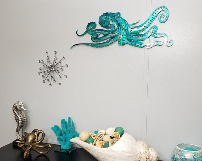 "Custom 60""x22"" Octopus Metal Wall Art"