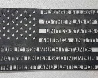 Metal American Flag, Pledge of Allegiance, Patriotic Gift, 4th of July, Veteran Gift