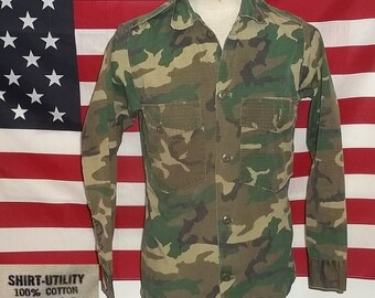 8059c0b0 Vintage camo shirt US Army Vietnam style ERDL pattern by Wynn Direct Sales  boyfriend small regular size laundered clean collectible
