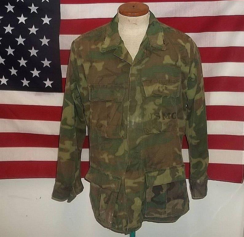 USMC jungle shirt ERDL camo Marines tropical ripstop coat jacket small  regular size rugged field worn look and fade restored