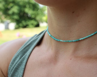 Natural Turquoise choker, dainty Turquoise rondelle beads, unique Turquoise choker, boho jewelry, gifts for her, gifts for teens