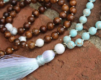 A Piece of Heaven Mala. Turquoise, Howlite, and Fragrant Balsam Wood 108 Japa beads. White Howlite guru bead, peaceful, serene mala beads