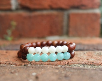 Rosewood bracelet set, Amazonite and Moonstone, lovely stacking bracelets, yogi bracelets, Heart and Crown chakra bracelets