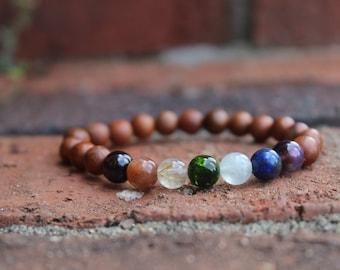 Rainbow Chakra Bracelet, Pride bracelet, Garnet, Sunstone, Golden Rutile Quartz, Diopside, Aquamarine, Lapis, Amethyst Rosewood bracelet