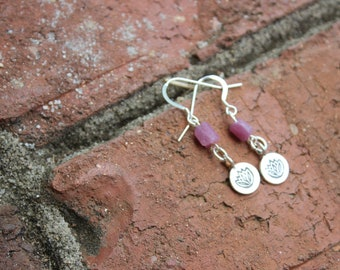 Raw Ruby Lotus Flower Charm Sterling Silver earrings, July birthstone earrings, Hill Tribe silver lotus flower charms, gifts for mom