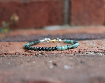 Raw Emerald Bracelet, May birthstone jewelry, mixed metal findings, Mothers day gifts, gifts for her, chic jewelry