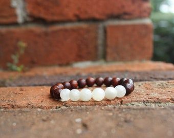 Dark Rosewood and Mother of Pearl bracelet, stacking bracelet, yogi bracelet, beaded bracelet, gifts for her, gifts under 20