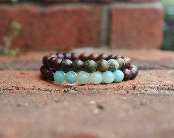 Set of Rosewood bracelets, African Turquoise and Amazonite, stacking bracelets, friendship bracelets, Heart and Throat Chakra stones
