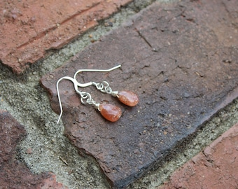 Simple Sunstone Earrings, single teardrop sparkly Sunstone beads on Sterling Silver earring wires, summer earrings, gifts for her