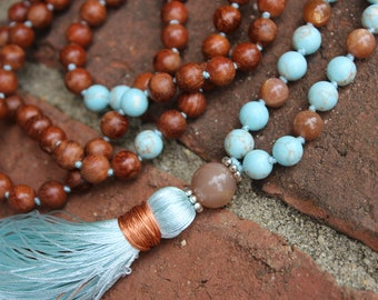 Sun and Sea Mala. Turquoise, Sunstone, Rosewood 108 Japa Mala beads, Peach Moonstone guru bead