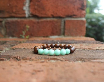 Faceted Amazonite and Balsam Wood bracelet, stacking bracelet, stretch bracelet, yogi bracelet, gifts under 20, gifts for her