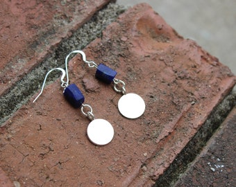 Raw Lapis Sterling Silver earrings, unique earrings, Hill Tribe silver earrings, raw denim blue Lapis, gifts for her, gifts for mom