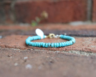 Sleeping Beauty Turquoise Bracelet, gorgeous genuine Turquoise beaded bracelet, gold plated clasp, one of a kind, gifts for her, boho chic