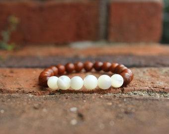 Natural Rosewood and Mother of Pearl Bracelet, stacking bracelet, yogi bracelets, gifts under 20, gifts for her