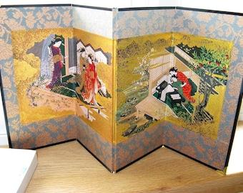 "Japanese ""Beauties"" Decorative Miniature Table Screen By Sukenobu Nishikawa, Made in Japan"