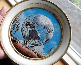 Vintage 1964 New York World's Fair Tray, Unisphere Photo, Vintage tin tip Tray, vintage NYC