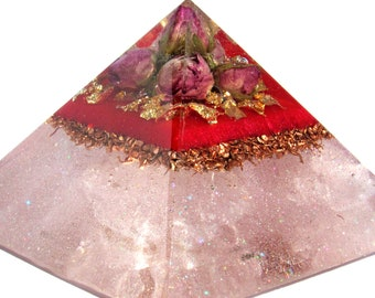 Rose Bud Orgonite Pyramid//Perfect For Expectant Mother's