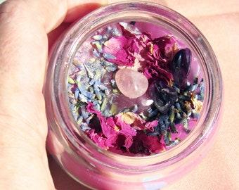 Gemstone, Rose & Lavender Homemade Candle