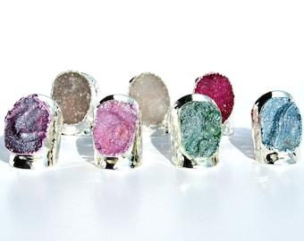 Chalcedony Agate Druzy Ring