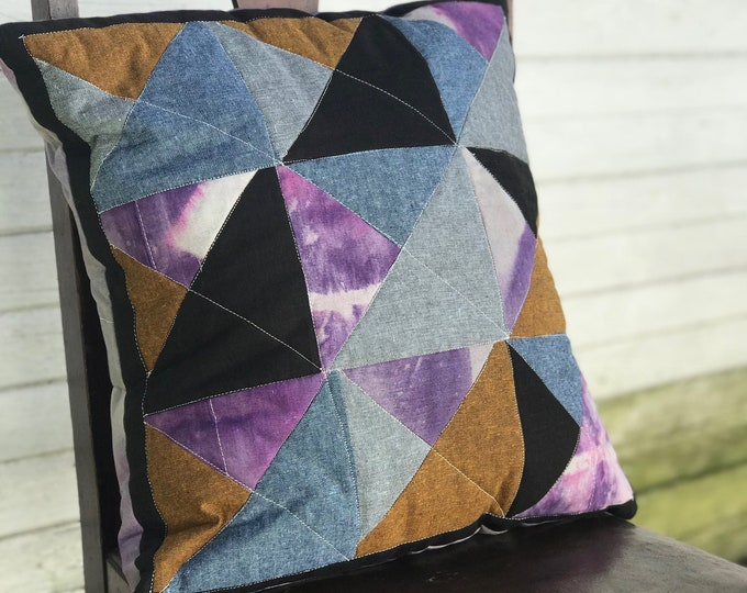 Modern Hand Dyed Shibori Throw Pillow 18 x 18 - Purple Gray Orange Blue Black Triangles