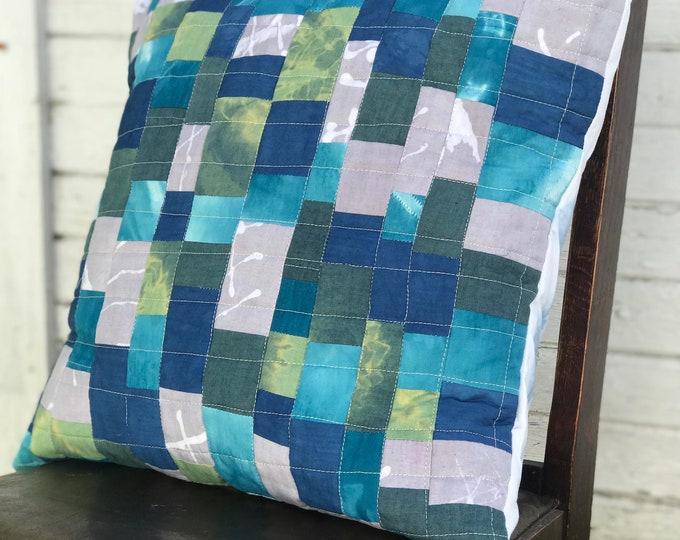 Modern Hand Dyed Throw Pillow 18 x 18 - Indigo Teal Green Gray Tiny Scraps Patchwork