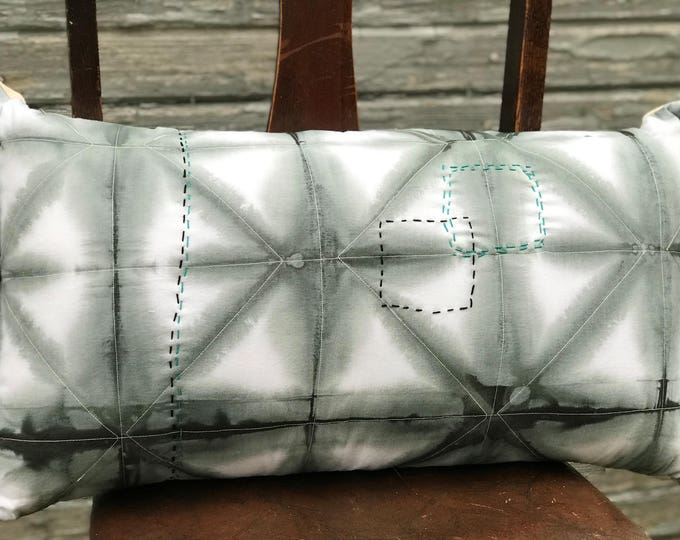 Hand Dyed Shibori Throw Pillow Gray With Teal and Black Embroidery - Great Home Decor Gift
