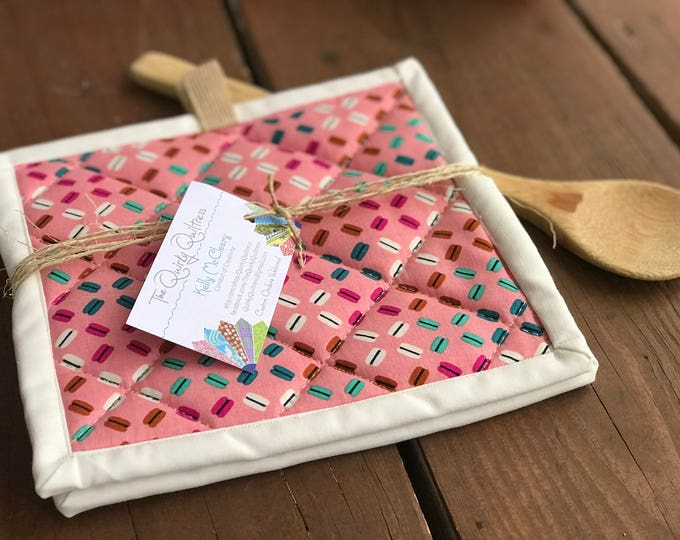 Handmade Quilted Pot Holders - Pink Macaroons - Gifts under 20