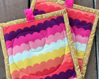 Handmade Quilted Pot Holders - Pink and Orange Rainbow