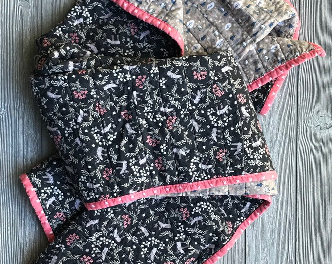 Handmade Modern Baby or Lap Quilt - Pink Black and Gray Moose and Cabins Woodland