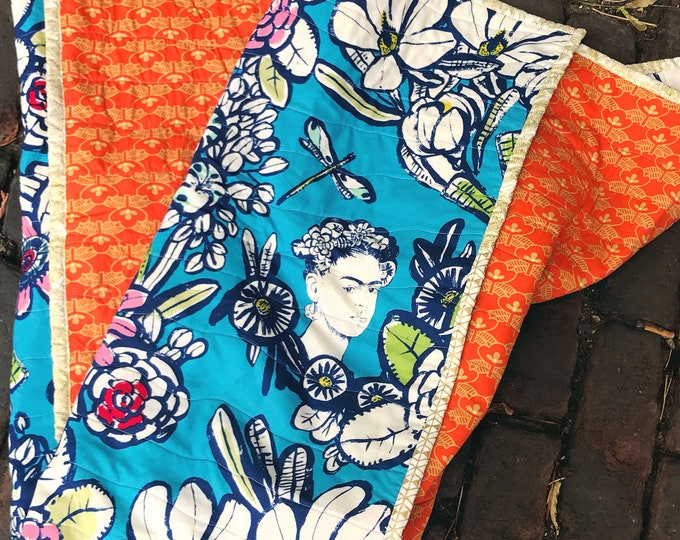 Frida Kahlo - Modern Handmade Baby or Lap Quilt , Twin Throw or Crib Size, Made to Order