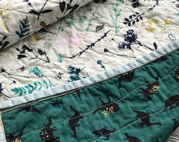 Handmade Modern Baby Quilt - Dinosaurs