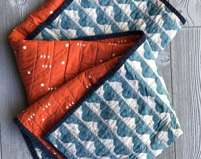 Handmade Boho Modern Baby or Lap Quilt - Teal and Orange Clouds Block Print