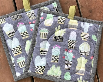Handmade Quilted Pot Holders - Cactus and Succulents
