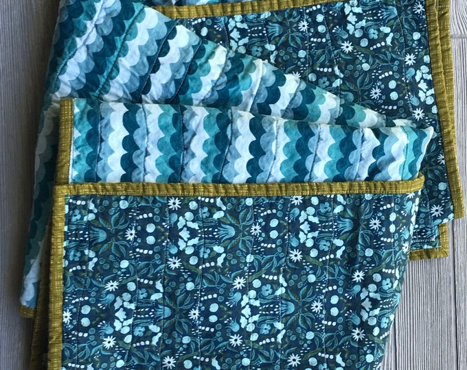 Handmade Boho Modern Baby or Lap Quilt - Teal Navy and Green Floral - Rifle Paper Company Prints