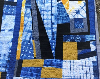 Shibori Throw Quilt - Indigo, Yellow, and Black