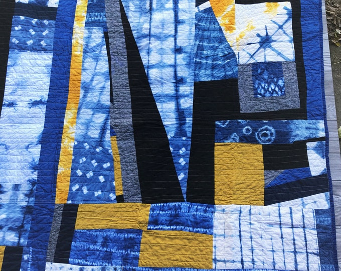 Handmade Modern Shibori Throw Quilt - Hand dyed indigo and yellow, black and gray linen art quilt
