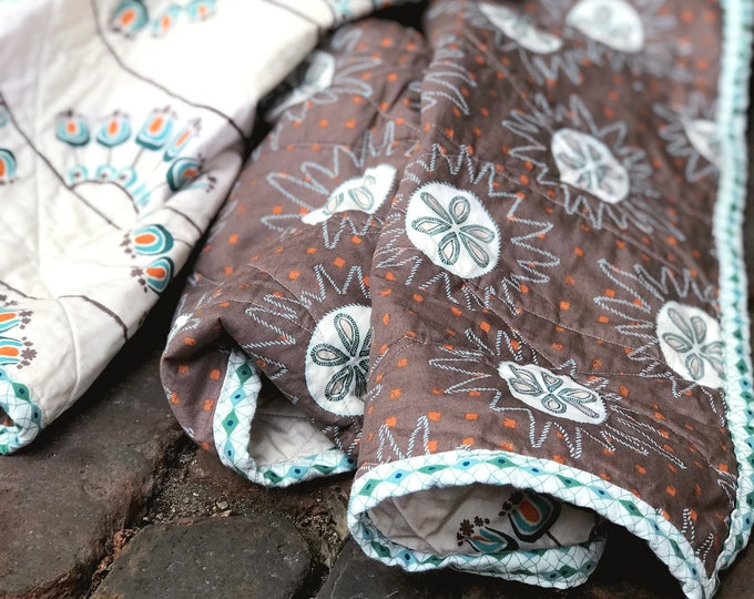 Handmade Modern Baby or Lap Quilt -Mod Floral, Orange, Teal, Cream, Aqua, Brown