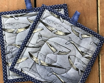 Handmade Quilted Pot Holders - Nautical Whales