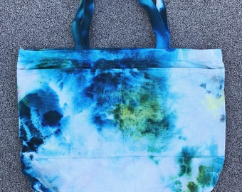 Ice Dyed Tote Bag - Teal and Green