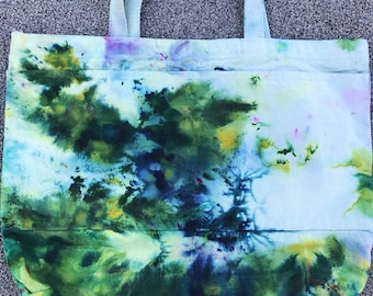 Ice Dyed Tote Bag - Green and Blue