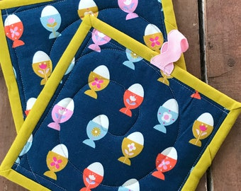 Handmade Quilted Pot Holders - Colorful Teal Egg Cups