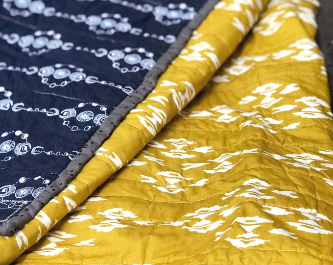 Handmade Modern Baby or Lap Quilt - Navy Moons and Yellow Ikat