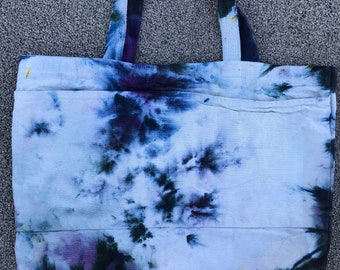 Ice Dyed Tote Bag - Purple and White